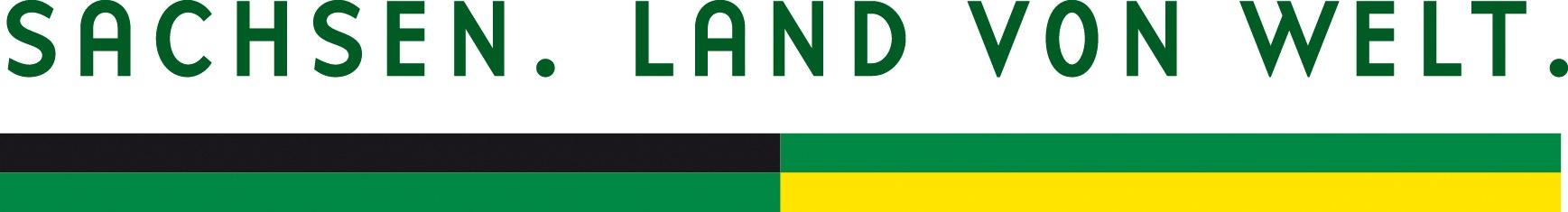 Logo Sachsen. Land von Welt.
